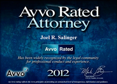 Avvo Rated Attorney - Joel Salinger